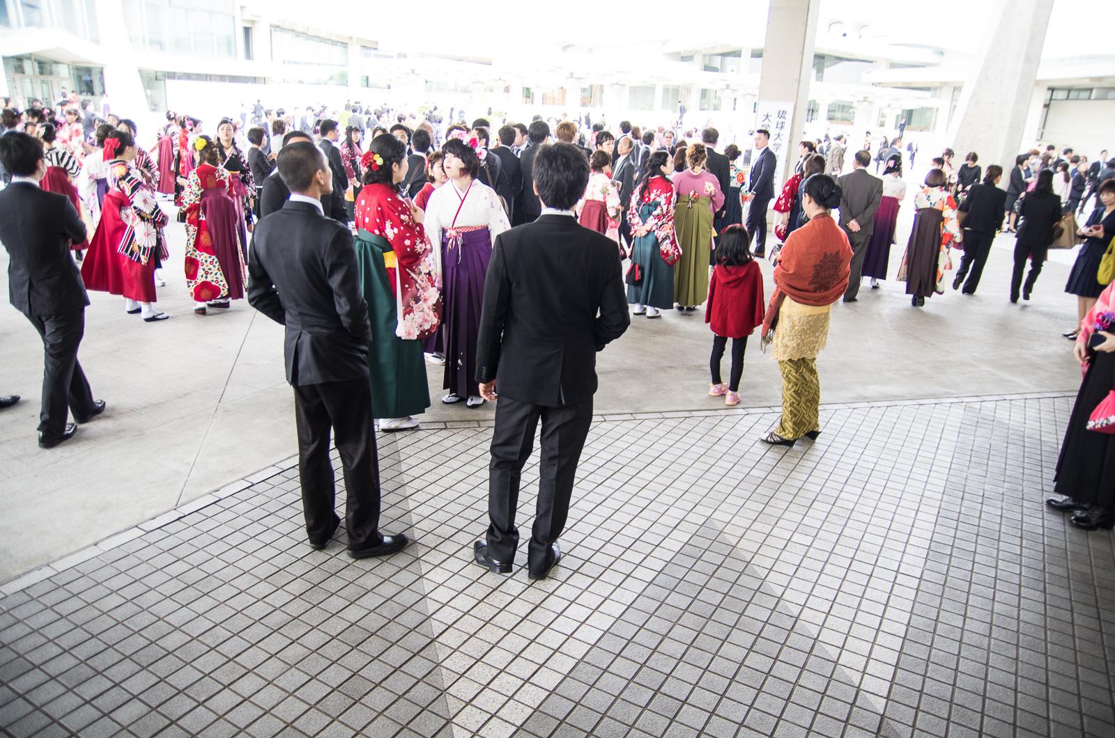 日本琉球大學畢業典禮會場外